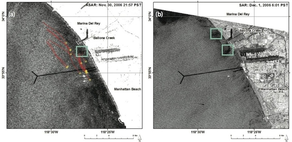 Figure 4. (a) Envisat ASAR image during the 2006 HTP diversion on 30 November 2006 and (b) Radarsat-1 SAR image after the 2006 HTD diversion on 1 December 2006.