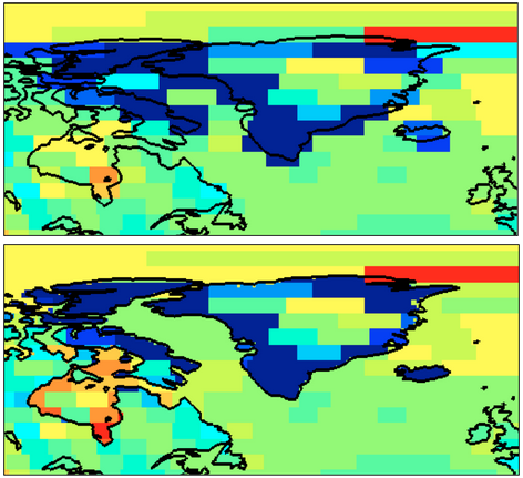 Figure 3: Mascon solutions depicted for 1 month over Greenland and North Atlantic region. Top image represents the unfiltered solution while the bottom image represents the CRI-filtered solution.