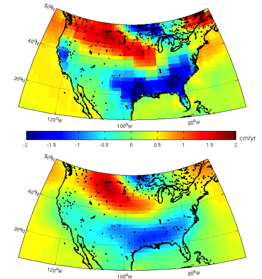 Figure 4: GRACE solution comparison of 2003-2012 trends in water mass (cm/year). Top image uses the CRI-filtered Mascon solution. Bottom image uses the JPL RL05 Harmonics, Destriped, 300 km smoothed solution.  The California drought signal is more evident in the Mascon solution due to how the data are processed.