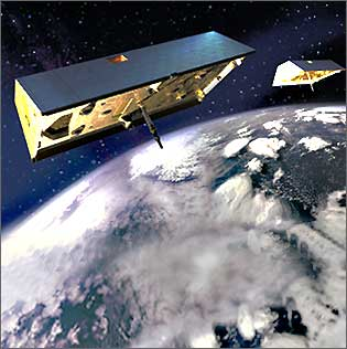 GRACE On Orbit Rendering (Credit: NASA)