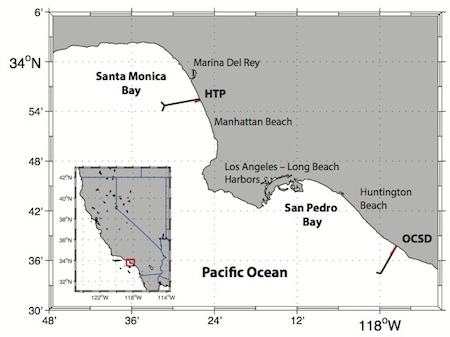Figure 1. Overview map of the Hyperion Treatment Plant (HTP) and Orange County Sanitation District (OSCD) outfall pipes. Red and black lines indicate HTP and OCSD short outfall pipes and long outfall pipes. Red box in inset indicates our area of interest within the Southern California Bight.