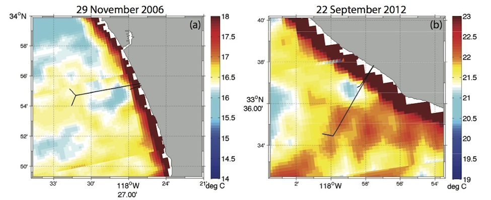 Figure 2. MODIS-Aqua SST (°C) during the (a) 2006 HTP diversion on 29 November 2006 and (b) 2012 OCSD diversion on 22 September 2012. The long and short outfall pipes are shown. Low SSTs are indicative of the plume signature and are observed in the vicinity of the short outfall pipes.