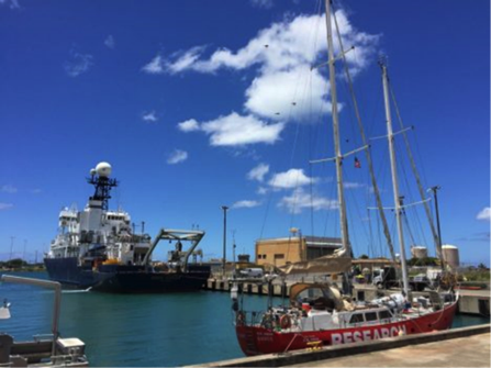 Figure 5.  The R/V Revelle and sailing ship Lady Amber in port in Hawaii prior to departure for SPURS2.