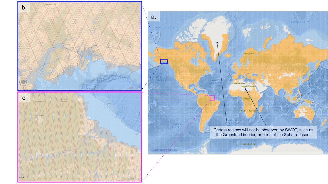 SWOT: About Hydrosphere: this is a Figure of Spatial Coverage: SWOT High Rate (HR) spatial coverage mask. Areas in yellow will have HR measurements. The HR mask extends a few kilometers off the coast. a) Spatial coverage for terrestrial water features and coastal areas. b) Cook Inlet, AK. c) Amazon River Delta.
