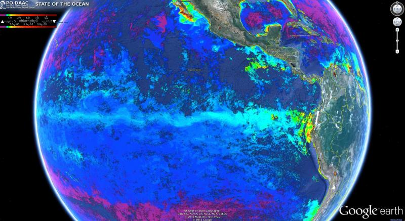 Chlorophyll-a (chl-a) in the eastern Pacific on July 10, 2012 created by SOTO