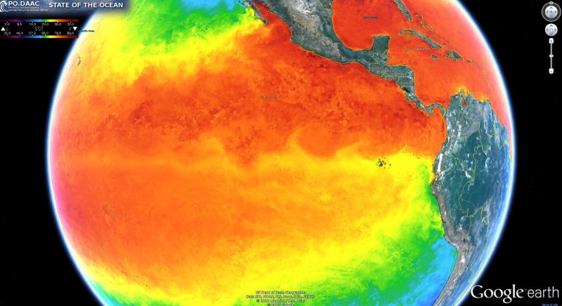 Sea Surface Temperature (SST) in the eastern Pacific on July 10, 2012.