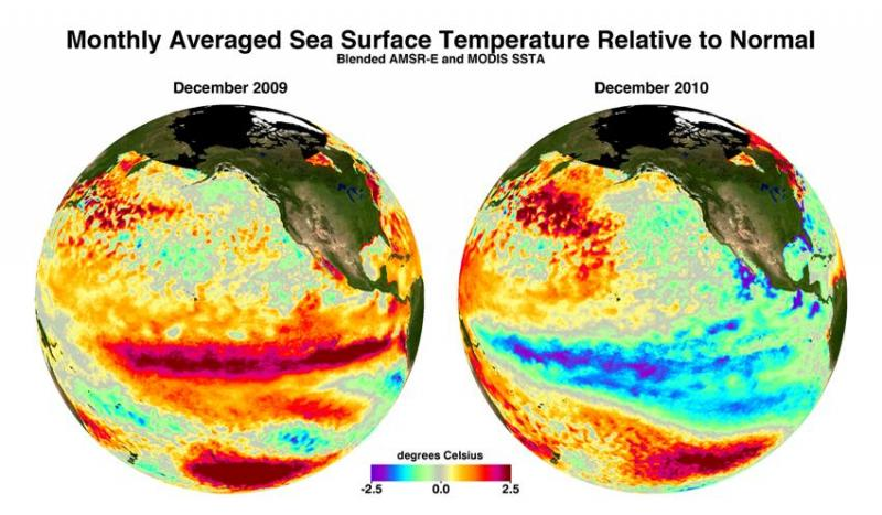 Sea Surface Temperature for Dec. 2009 and Dec. 2010 showing the El Nino and La Nina