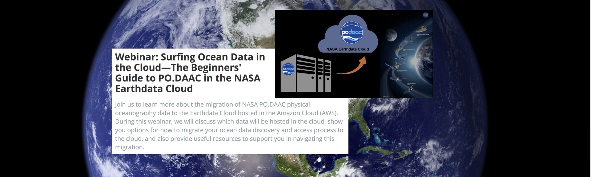 This graphic illustrates information from the upcoming PO.DAAC Cloud Migration Webinar hosted by Earthdata