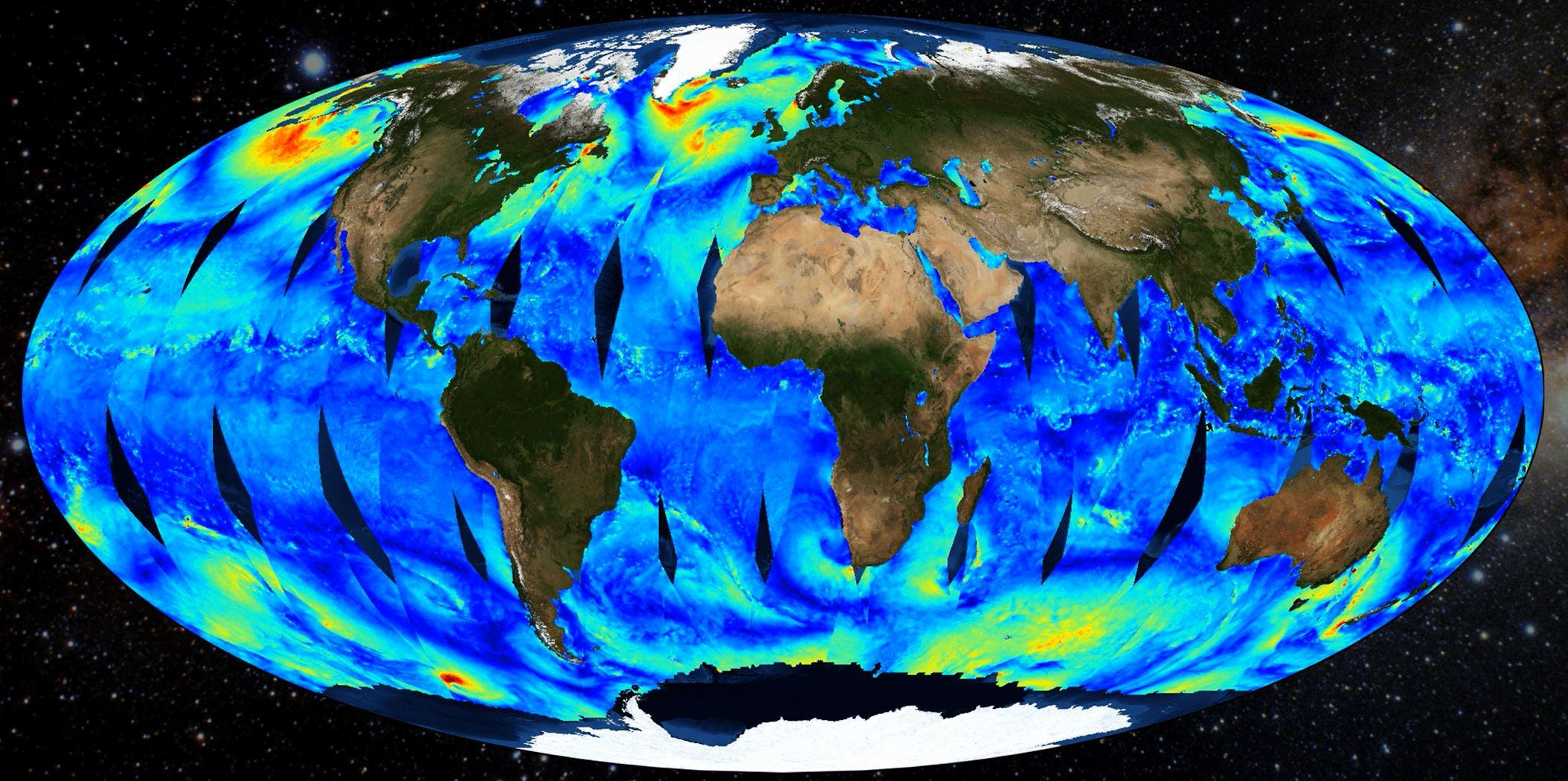 This graphic illustrates wind speed from the QuikSCAT Level 2B Version 4.1 dataset