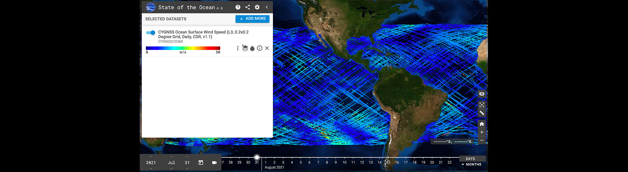 This graphic illustrates information gathered from the PO.DAAC State of the Ocean (SOTO) visualization tool.