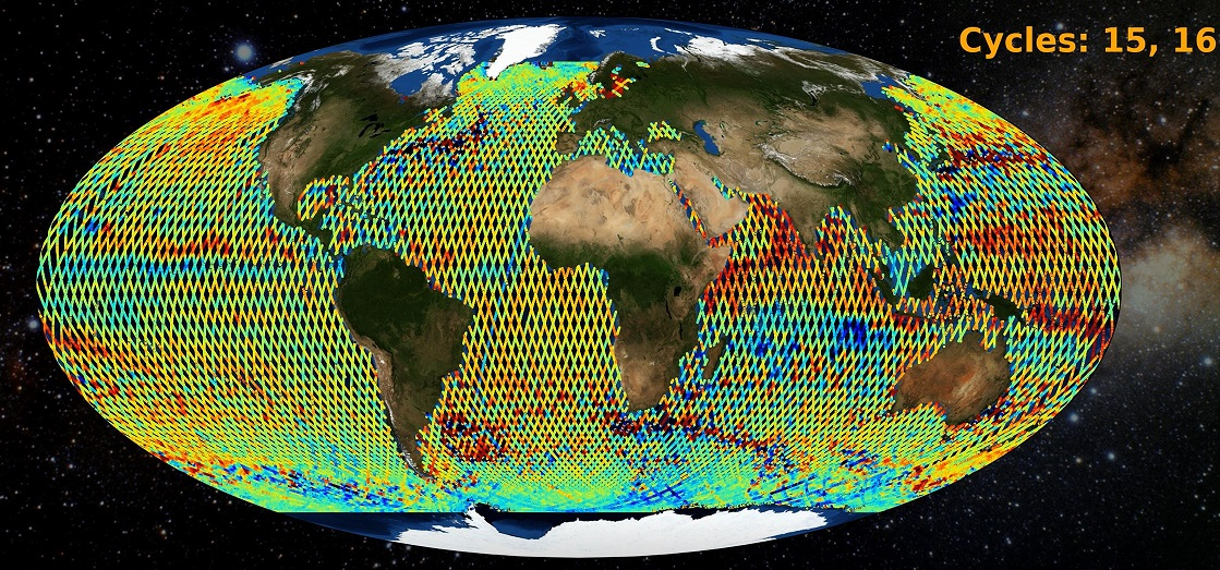 This graphic illustrates information gathered from the Along Track Sea Surface Height Anomaly from Sentinel-6 MF
