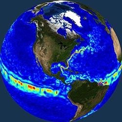 Globe icon / screenshot representing Ocean Circulation Measurement