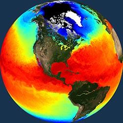 Globe icon / screenshot representing Ocean Temperature Measurement