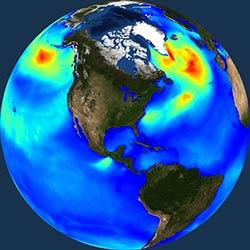 Globe icon / screenshot representing Ocean Waves Measurement