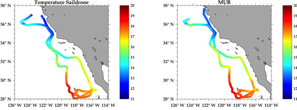 Comparison of Saildrone and collocated satellite sea surface temperature observations over the Baja campaign cruise track.