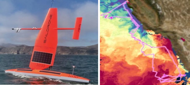 Baja Saildrone deployment and cruise track in relation to SST imagery.