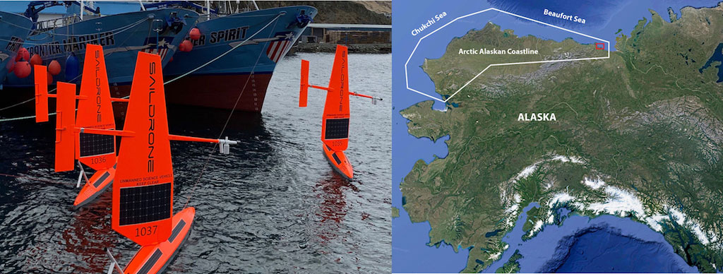 Left Panel: Fleet of 5 saildrones deployed during the Arctic spring 2019 campaign prior to departure from Dutch Harbor, AK. Right panel: The saildrones sailed north through the Bering Sea into the Arctic circle and Chukchi Seas to the ice edge and back over their 150 day mission.