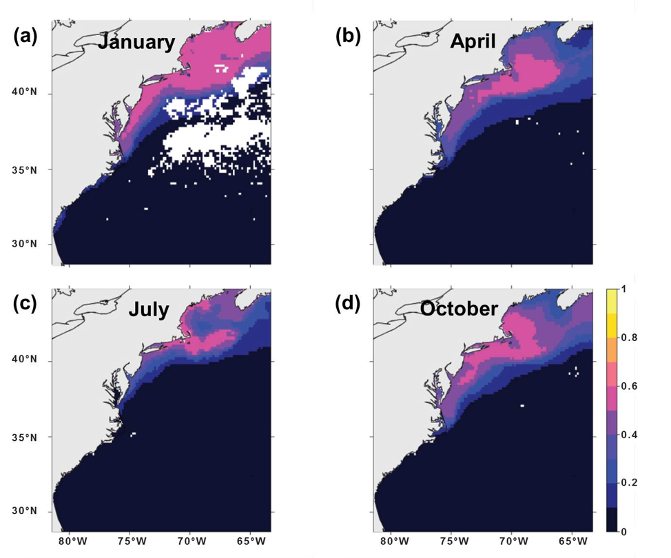 Figure 1.  Habitat suitability maps of Atlantic herring for January (a), April (b), July (c), and October (d) based on MaxEnt.