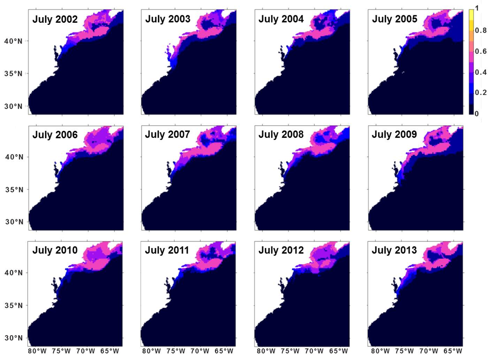 Figure 3.  Monthly habitat suitability hindcasts for Atlantic herring in the Northwest Atlantic Shelf area for July of 2002-2013.