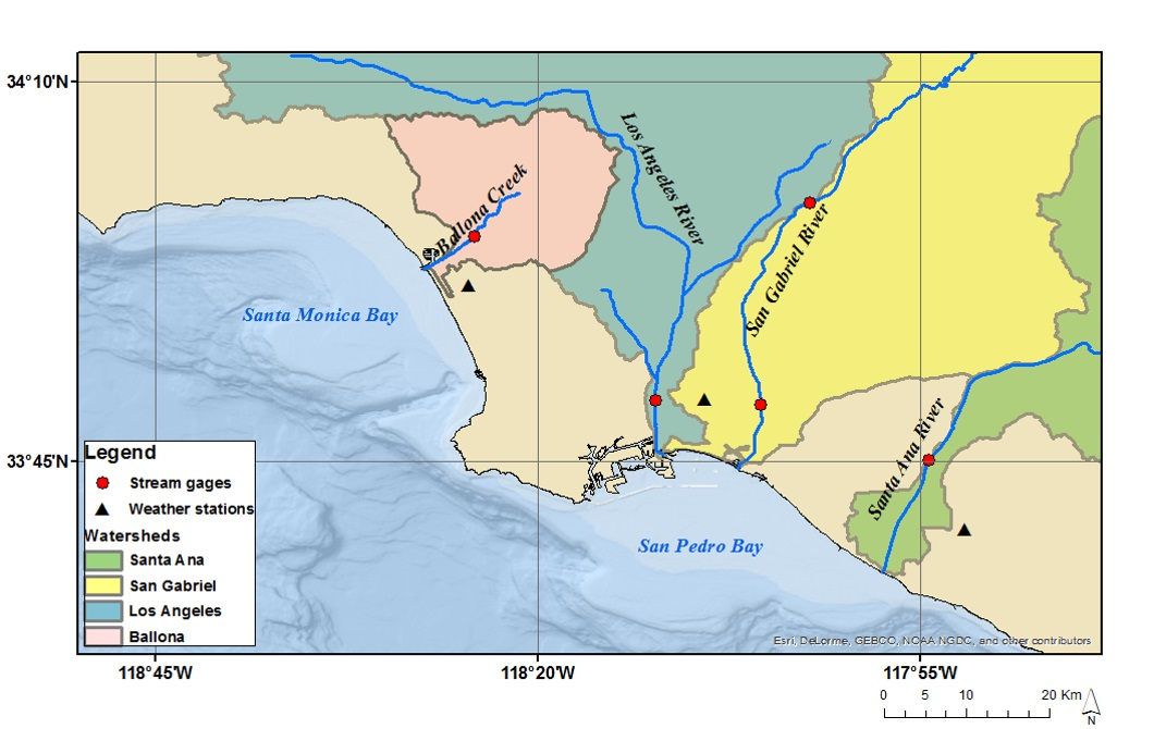 Study region illustrating the four major watersheds studied within the Southern California Bight