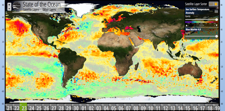 SST Anomalies (°C) on April 23 (top) 2014
