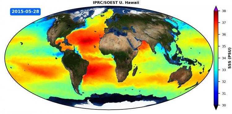 IPRC/SOEST Optimally Interpolated Sea Surface Salinity (OISSS) Aquarius V5.0 Animation