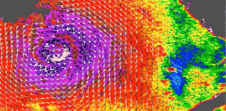 A 2005 image of Hurricane Katrina in the Gulf of Mexico  from NASA's QuikScat scatterometer shows the kind of  ocean-wind data that ISS-RapidScat will provide. In this image, the highest wind speeds are shown in purple and barbs indicate wind direction.